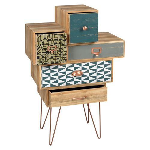 MOBILE IN LEGNO O1304 - mobile in legno con 5 cassetti, piedi e maniglie in metallo col. bronzo, cassetti decorati - 5 drawers wooden cabinet - www.mascagnicasa.it