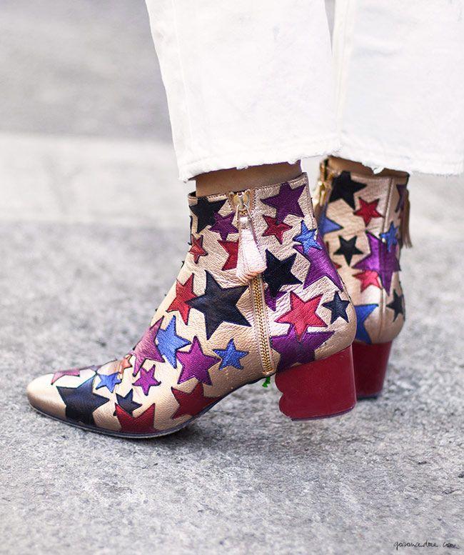 Metallic star boots, street style, New York City, Asia Typek / Garance Doré