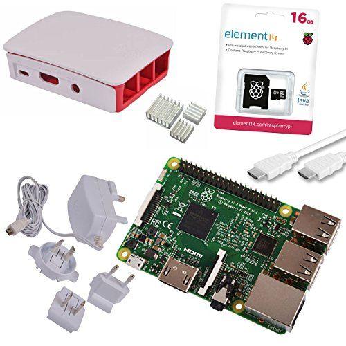 Raspberry Pi 3 Official Starter Kit White, con Cargador Oficial, Caja Oficial, microSD Oficial de 16GB con NOOBS, Cable HDMI y disipadores de segunda mano