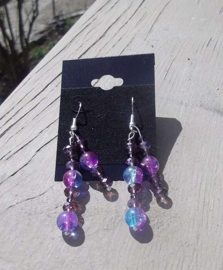 "2.5"" Blue & Purple Glass with Crystal Dangle Earrings"