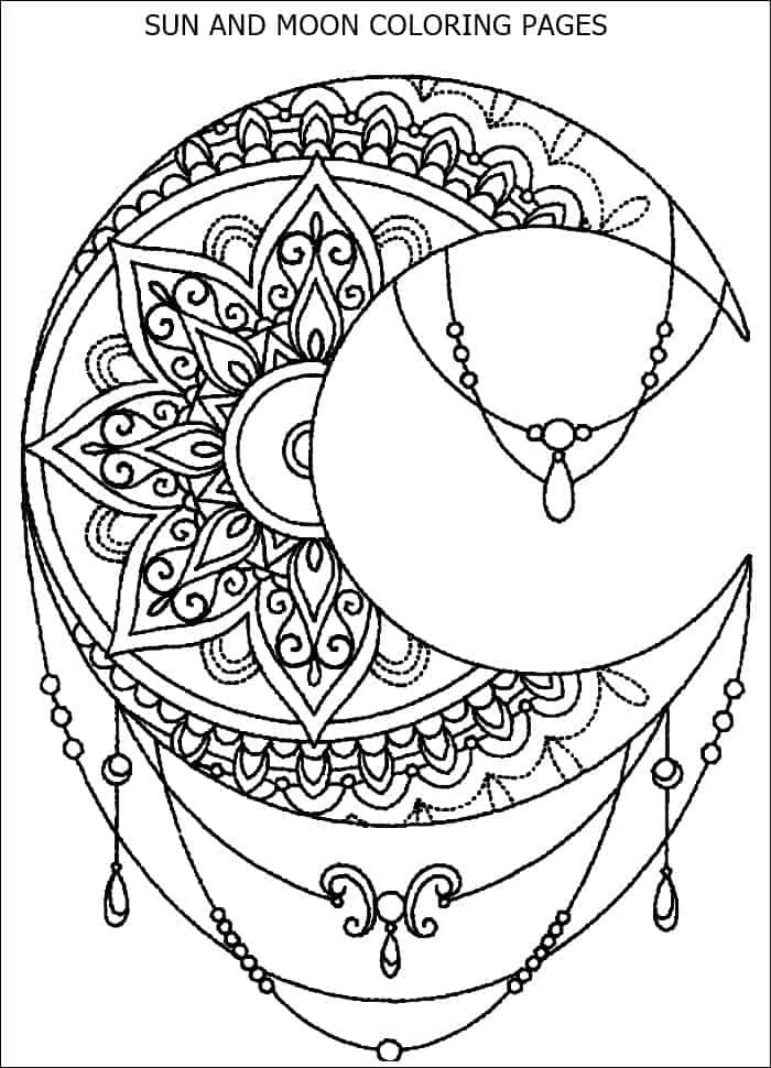 Sun And Moon Mandala Coloring Pages Small Geometric Tattoo Geometric Tattoo Meaning Moon Tattoo Designs
