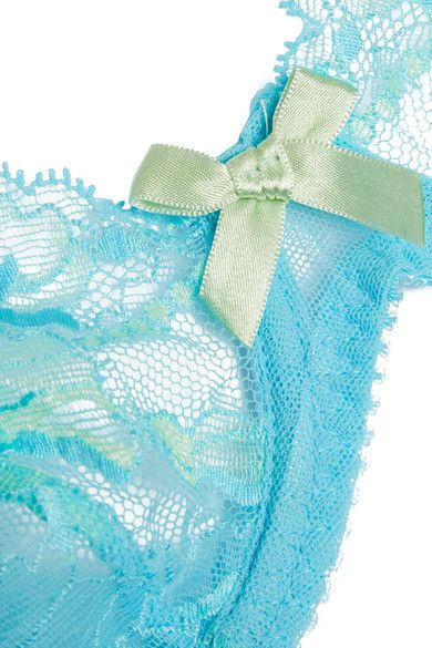 L'Agent by Agent Provocateur - Macie Leavers Lace And Stretch-tulle Balconette Bra - Turquoise - 34C