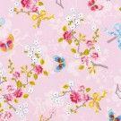 Tapete Florita col. 06 | Blumentapete in den Farben rosa-weiß-gelb | Grundton blau