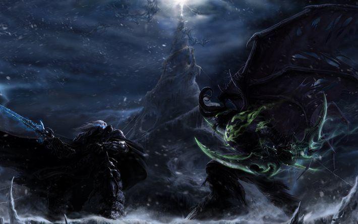 Descargar fondos de pantalla Illidan, Arthas, la batalla, los guerreros, WoW, Stormrage, World of WarCraft
