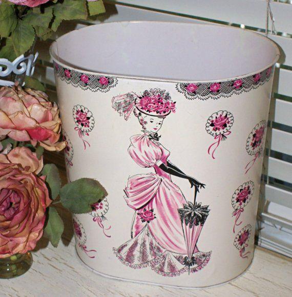 Vintage Victorian Lady Vanity Waste Basket by RomanceCatsAndWhimsy