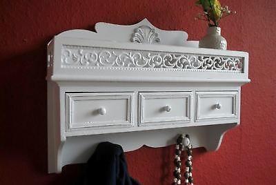 Wandschrank Wandregal antik Weiß Landhaus Blech Küchenregal Regal AD108 | eBay