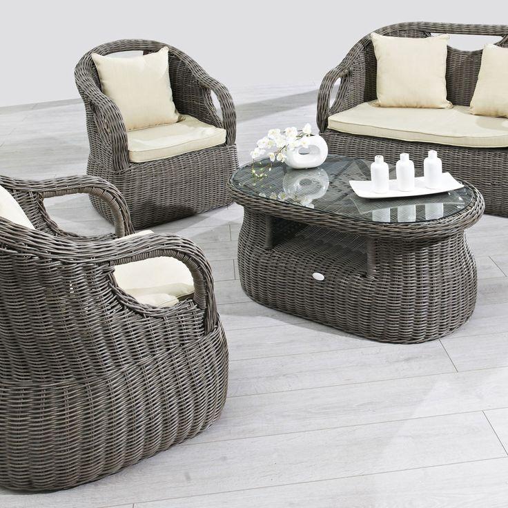 Composition du salon de jardin 1 banquette 2 places 2 fauteuils 1 table b - Banquette jardin resine ...