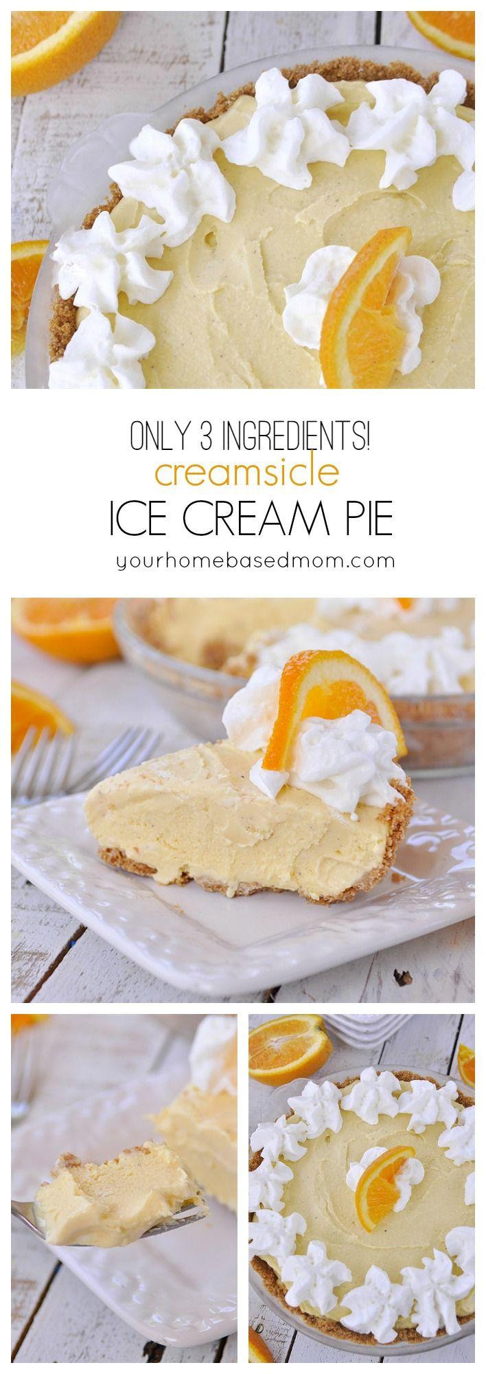 Creamsicle Ice Cream Pie has only 3 ingredients! Easy dessert recipe!