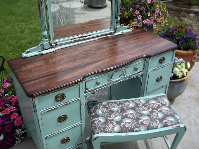 A Brush of Whimsy: Chippy Aqua Vanity    I may need this if my vanity in basement  doesn't clean up well.