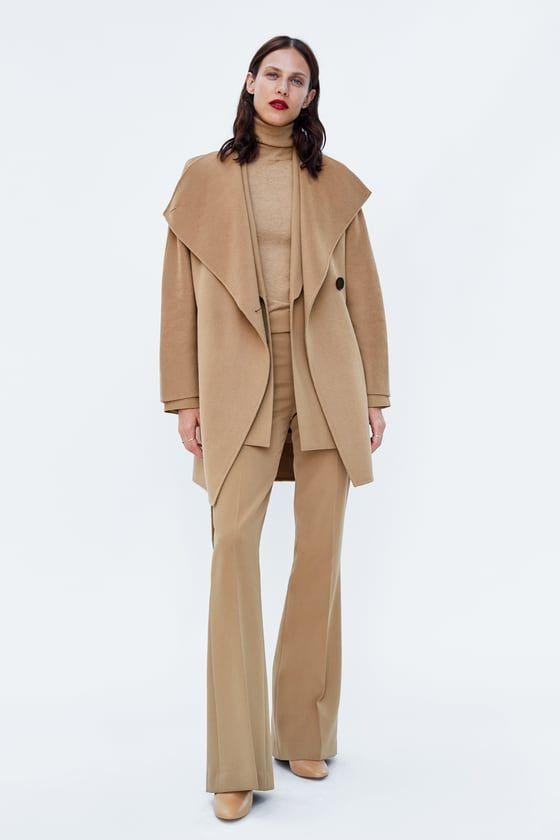 abrigo de mujer con cinturon y botones zara