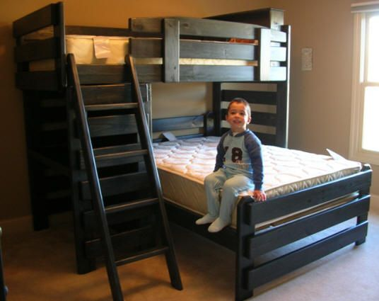 bunk loft factory twin full l shape bunk bed blue wood - L Shape Bedroom 2016