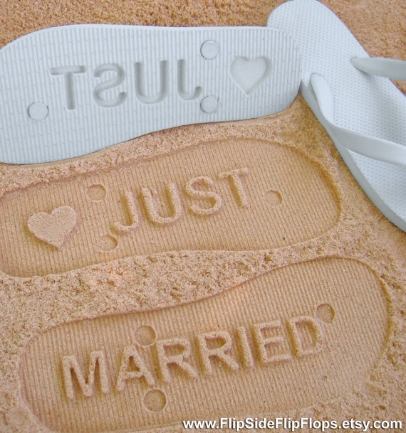 totes want this for my honeymoon!! (JUST MARRIED  Sand Imprint Flip Flops by FlipSideFlipFlops on Etsy, $19.95 )