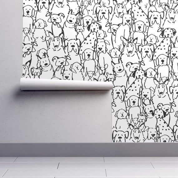Dog Wallpaper Dog S Life Black White By Coopercraft Etsy In 2020 Peel And Stick Wallpaper Dog Wallpaper Self Adhesive Wallpaper