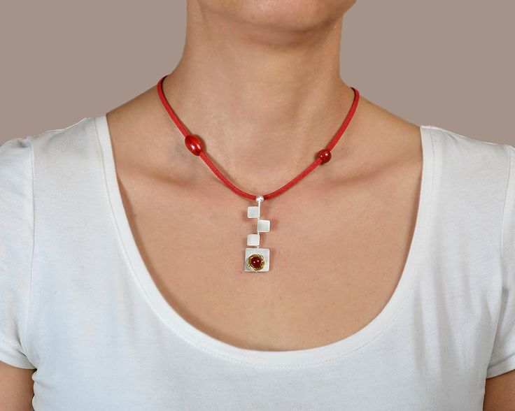 Red coral pendant necklace, silver square necklace, coral necklace, acai jewelry, red cord necklace, adjustable necklace, geometric pendant by ColorLatinoJewelry on Etsy