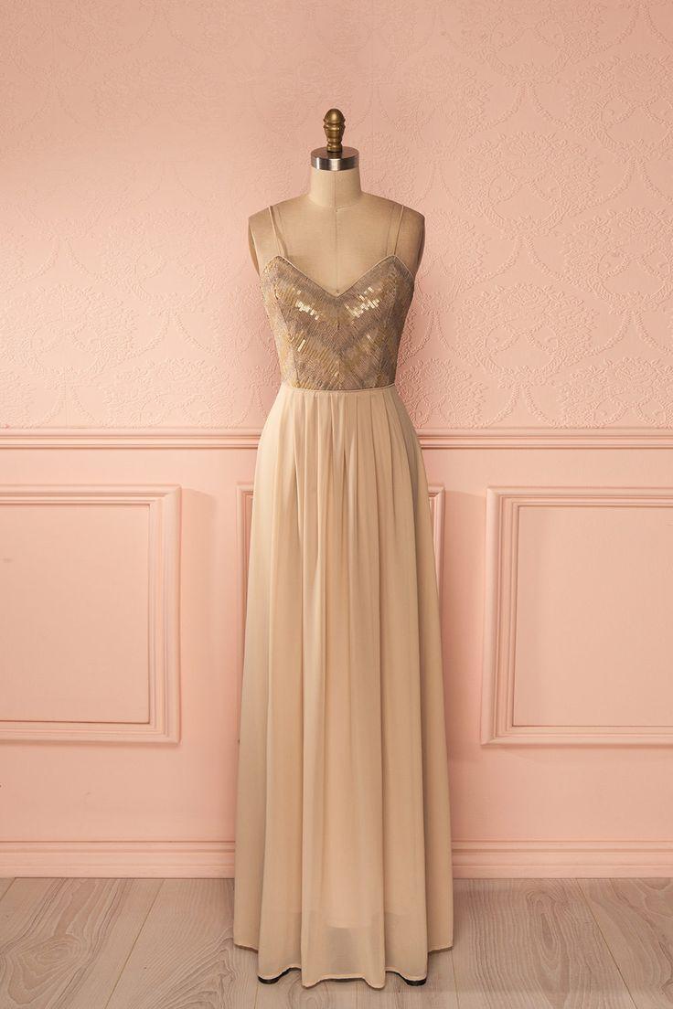 Robe longue bretelles fines voile beige paillettes dorées - Beige veil golden sequined bust thin straps open-back gown