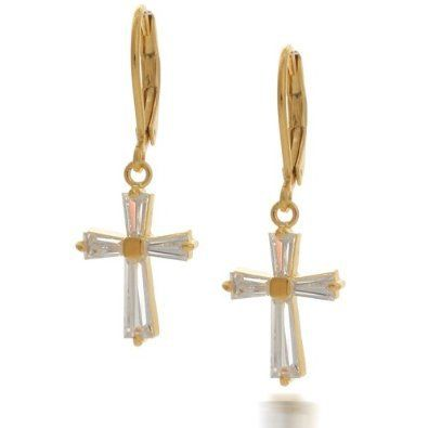Bling Jewelry Vermeil Gold Baguette CZ Cross Leverback Earrings