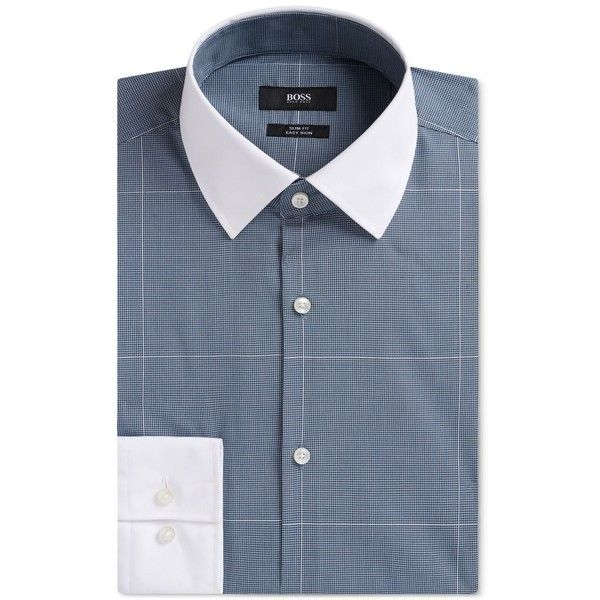 Boss Men's Slim-Fit Contrast Dress Shirt ($155) ❤ liked on Polyvore featuring men's fashion, men's clothing, men's shirts, men's dress shirts, turquoiseaqua, mens woven shirts, mens dress shirts, mens checked shirts, mens slim fit shirts and mens checked dress shirts