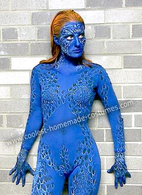 Homemade Mystique Costume: I started off by purchasing a blue unitard from an online discount dance supply store...