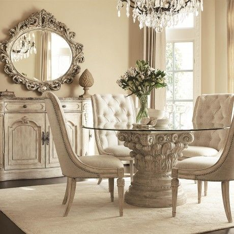 Antique Round Glass Dining Table Come With White Base In Carving To White Classic Tufted Dining Chair With Cushion a part of under Dining Room