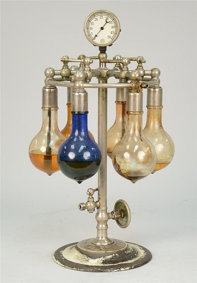SIX BULB CHROME & IRON TABLE TOP NEBULIZER, U. S. Gauge Co., N.Y., height: 18 inches