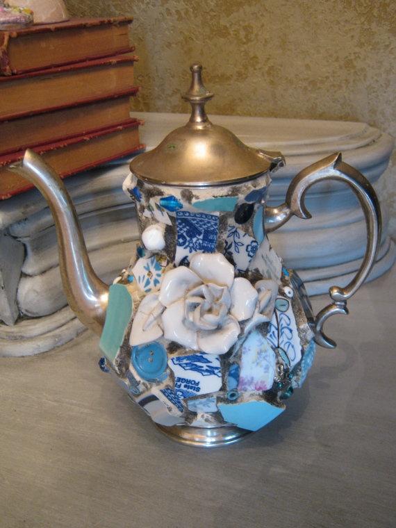 Mosaic hinged pewter tea pot