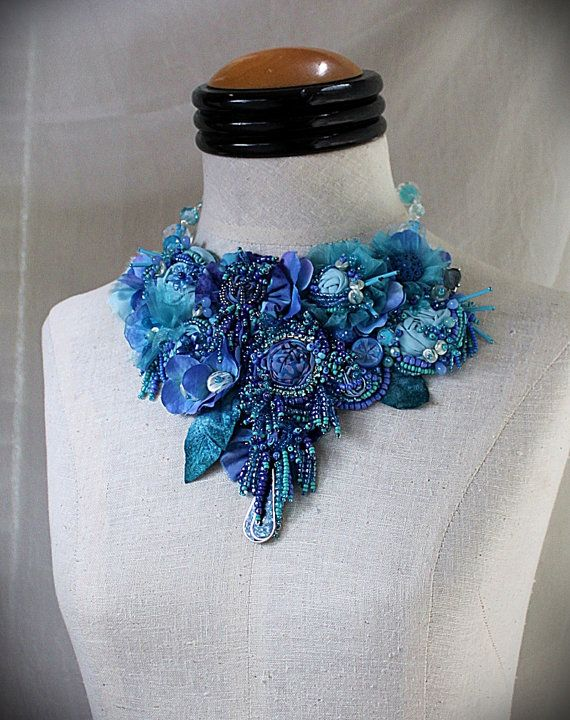 CORNFLOWER BLUE Beaded Textile Mixed Media Statement Necklace