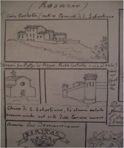 Il Museo prima del Museo.  La casa diSan Sebastiano deve il suo nome alla chiesa vicina, già esistente nel 1528 quando la Municipalità fece voto al Santo per far cessare l'epidemia di peste portata dalle truppe francesi. Il convento fu abbandonato nel 1769  Il ricordo della chiesa e del convento negli schizzi di Enrico Costa