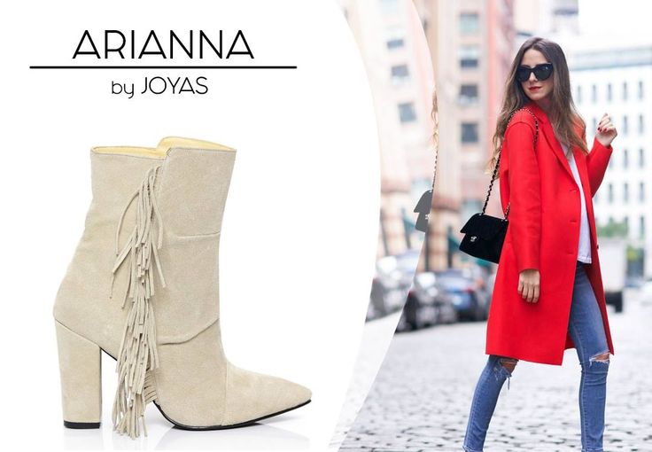 The beige ankle boots made of suede can be worn with a red coat for winter @joyasromania