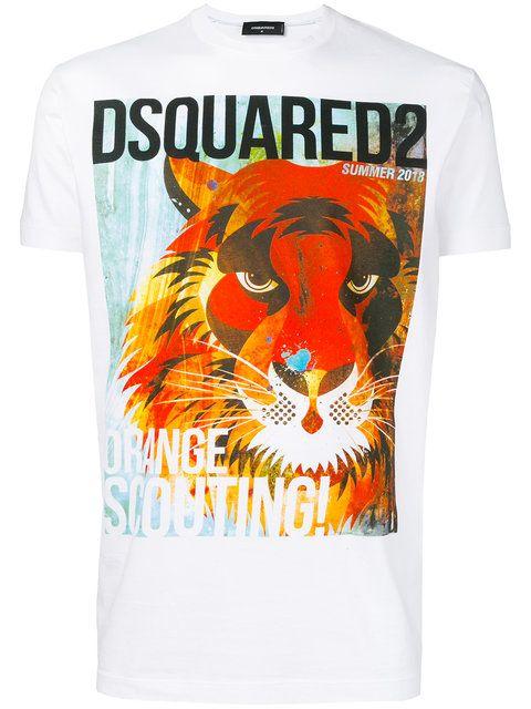 558a31de0 Dsquared2 Orange Scouting Lion Print T-shirt - Farfetch | Men ...