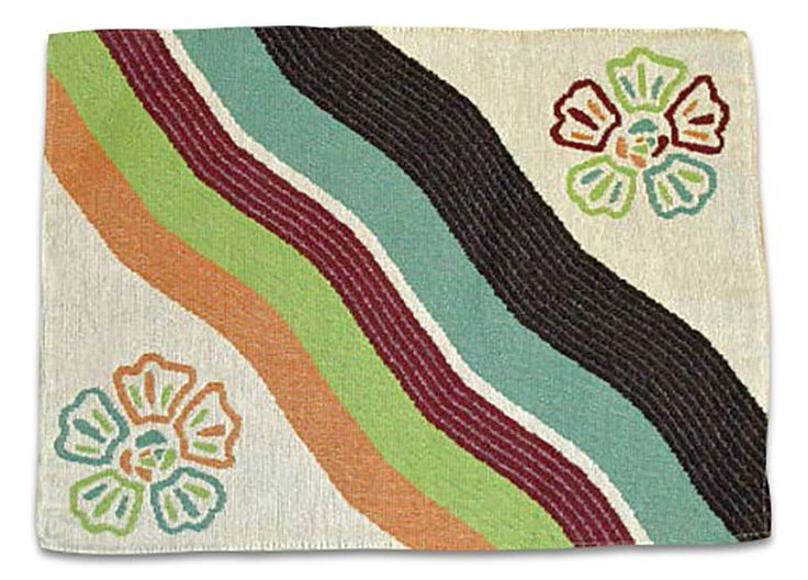 "Unique and Custom {13' x 18' Inch} Single Pack of Rectangle ""Non-Slip Grip Texture"" Large Reversible Table Placemat Made of Cotton and Polyester w/ Retro Flower Stripe Design [Colorful Blue, Red, and Green] * Find out more details by clicking the image : Food Service Equipment Supplies"