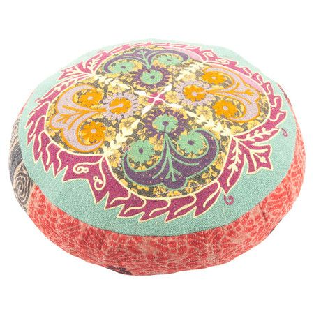 Crafted from embroidered kantha work material, this pouffe is the perfect complement to your eclectic bedroom.    Product: