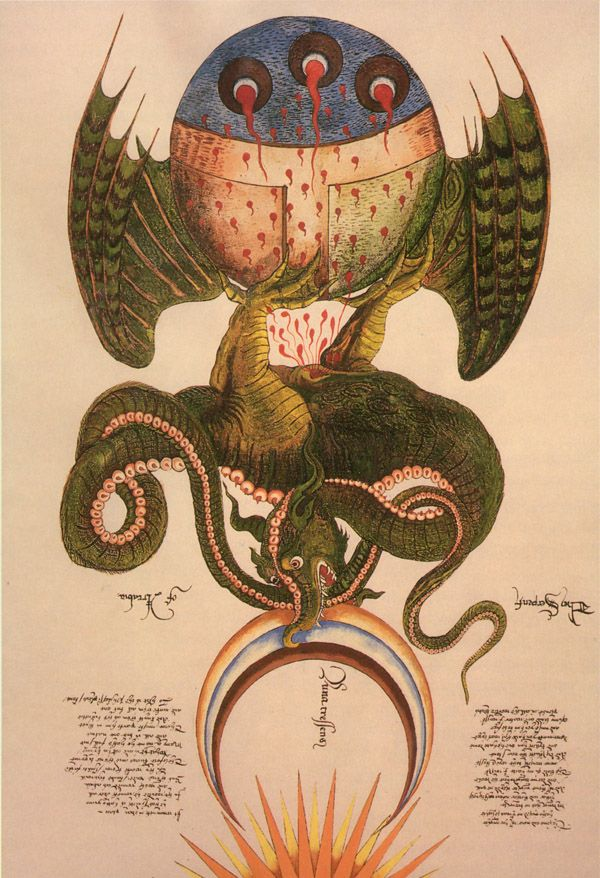 Medieval Lindorm Dragon, 15th century, from the alchemical scrolls of Sir George Ripley