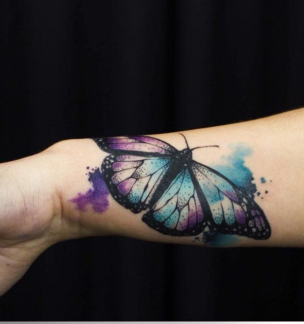 Watercolor butterfly tattoo - 100+ Amazing Butterfly Tattoo Designs #TattooYou