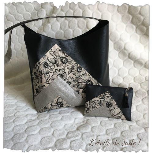 Sac à main en simili cuir noir, lin lamé et tissu fleuri.