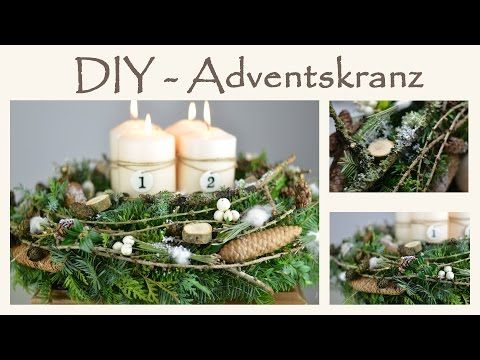 DIY - Adventskranz im Shabby Chic I Naturmaterial mit einem Hauch Weiß I How to - YouTube
