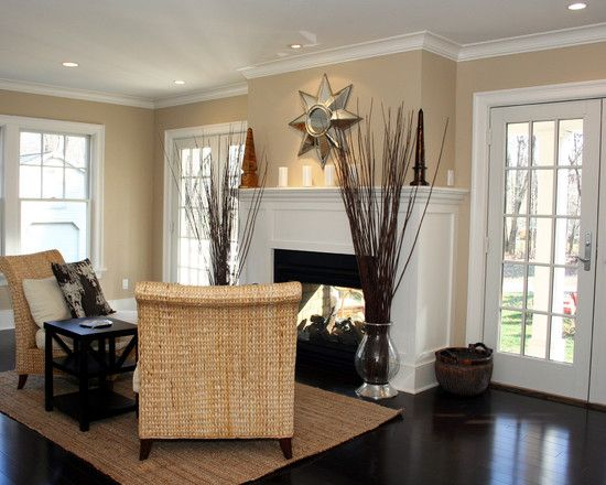 Living Room Fireplace Flanked By Pairs Of French Doors