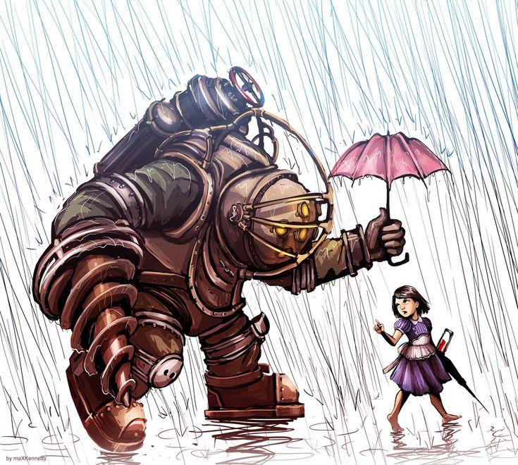 Bioshock - Big Daddy in the Rain by maXKennedy.deviantart.com