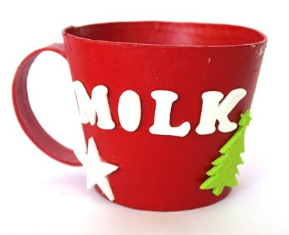 Cup of milk for Santa? Let the kids decorate their own Santa mug using Shamrock Craft products.