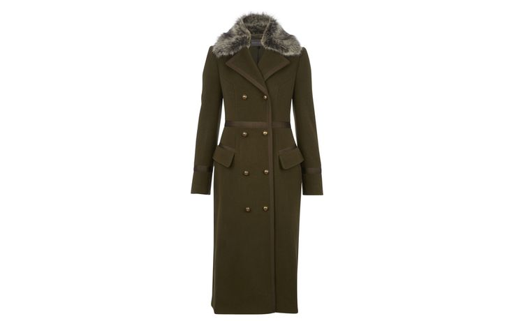 Longline Detachable Faux Fur Collar Coat