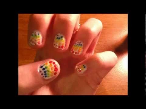 poka dot rainbow nails by iceskate700 on youtube