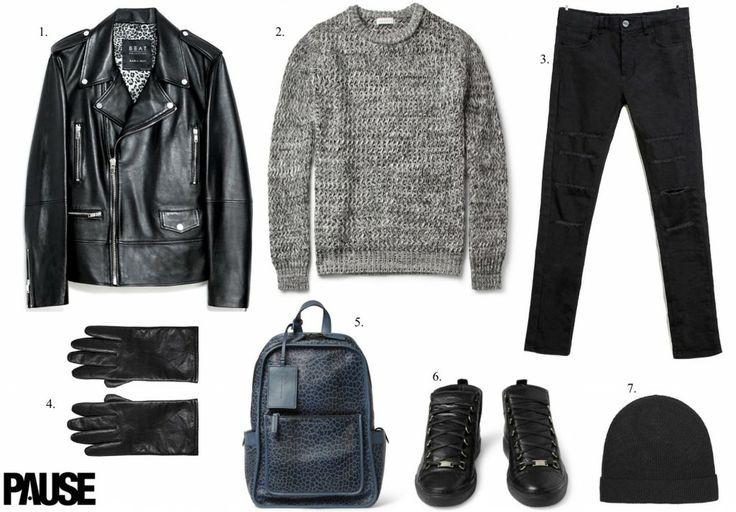 1. Leather Jacket – Zara 2. Jumper – Sandro 3. Jeans – Zara 4. Gloves – AllSaints 5. Backpack – Marc By Marc Jacobs 6. Sneakers – Balenciaga 7. Beanie – AllSaints