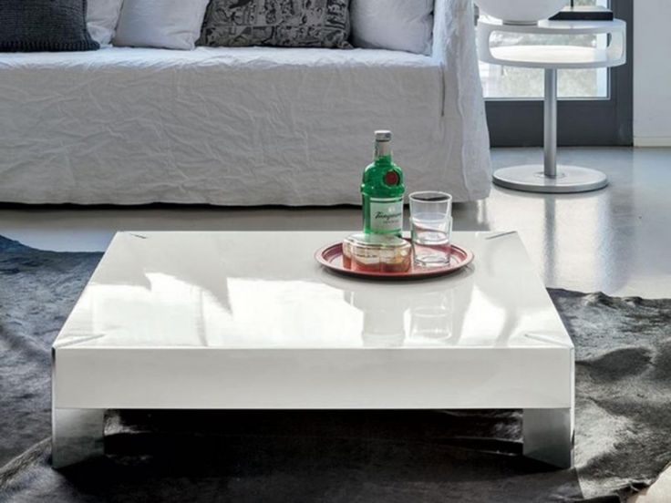 Contemporary Square Coffee Table With Slim Metal Legs In High Gloss White