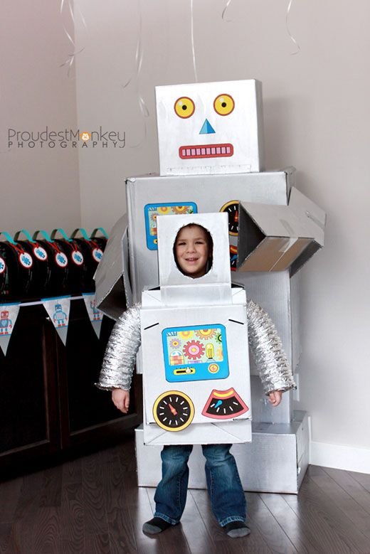 robots and rockets party bennett is 4 robot costumeskid halloween - Halloween Box Costumes