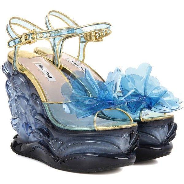 Miu Miu Embellished Platform Sandals (£1,000) ❤ liked on Polyvore featuring shoes, sandals, heels, blue, decorating shoes, blue heeled sandals, blue shoes, blue platform shoes and blue platform sandals