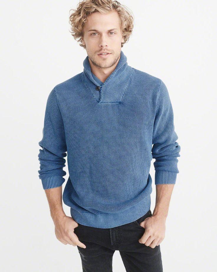 A&F Men's Garment Dye Shawl Collar Sweater