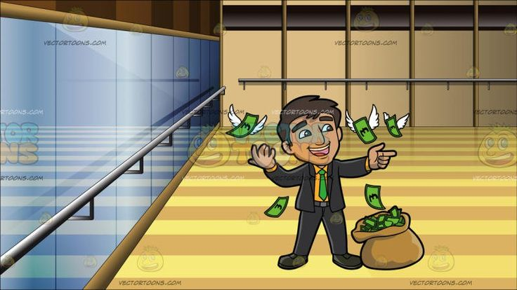 A Man Having Fun With A Bunch Of Money With Wings At Inside A Dance Studio Back Ground:  A man with dark brown hair wearing a yellow orange dress shirt green necktie black suit and shoes dark gray belt parts his lips to smile while looking at the flying green money from the brown money bag beside him. Set in interior of a dance studio with polished wood floors a full length mirror across an entire wall and ballet bar affixed to it and another wall.
