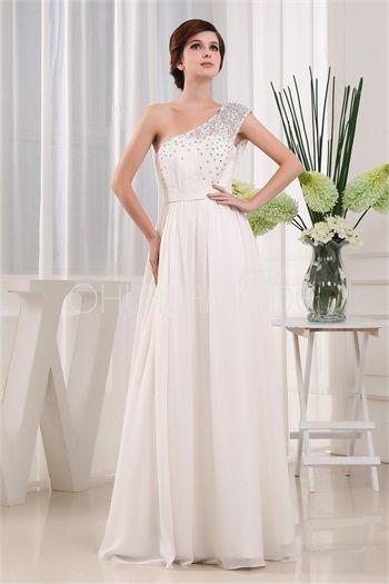 Robe de mariée élégante pas cher décoration perlée en satin et chiffon ornée de dentelle
