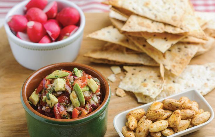 Wasabi salsa with radishes and homemade tortilla chips