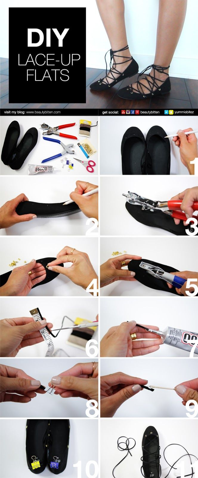 #DIY Lace-up Flats Picture-by-Picture instructions. How you can update your plain, old ballerina flats. No sewing involved. Please visit my blog or Youtube channel for DIY video (https://youtu.be/jQZYVg6SiJ0) and ideas how you can tie your flats.