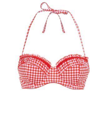 Kelly Brook Red Gingham Frill Bikini Top